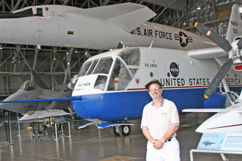 Myself with XB-70. The boxy aircraft in the foreground is the tiltwing XC-142A from the mid-60's.